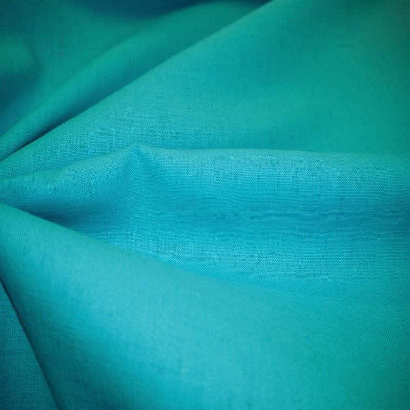 Toile de lin bleu turquoise