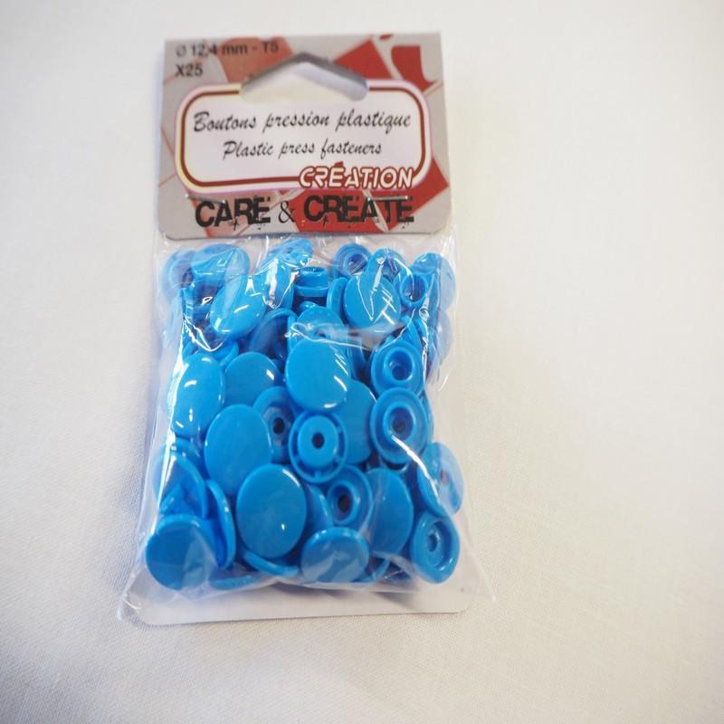 Boutons pressions plastique bleu turquoise
