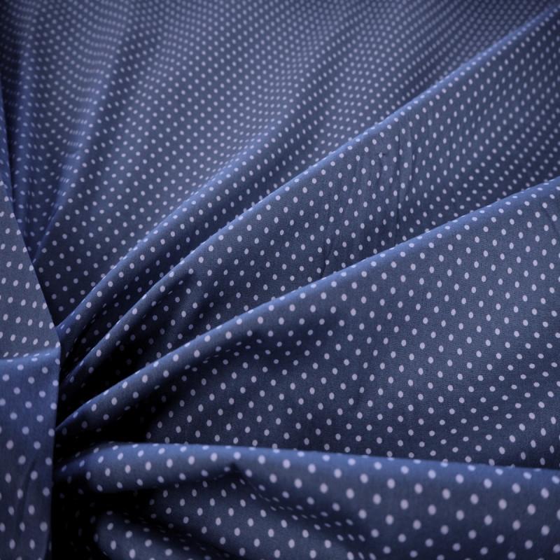 Coton bleu jean's à petits pois