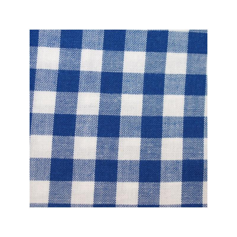 Tissu vichy moyen carreaux bleu roi