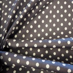 Tissu coton à pois gris foncé / blanc
