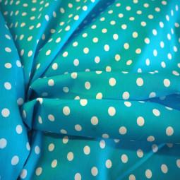 Coton turquoise à pois