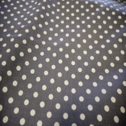Tissu coton à pois gris moyen / blanc