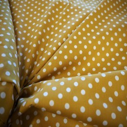 Tissu coton moutarde / blanc
