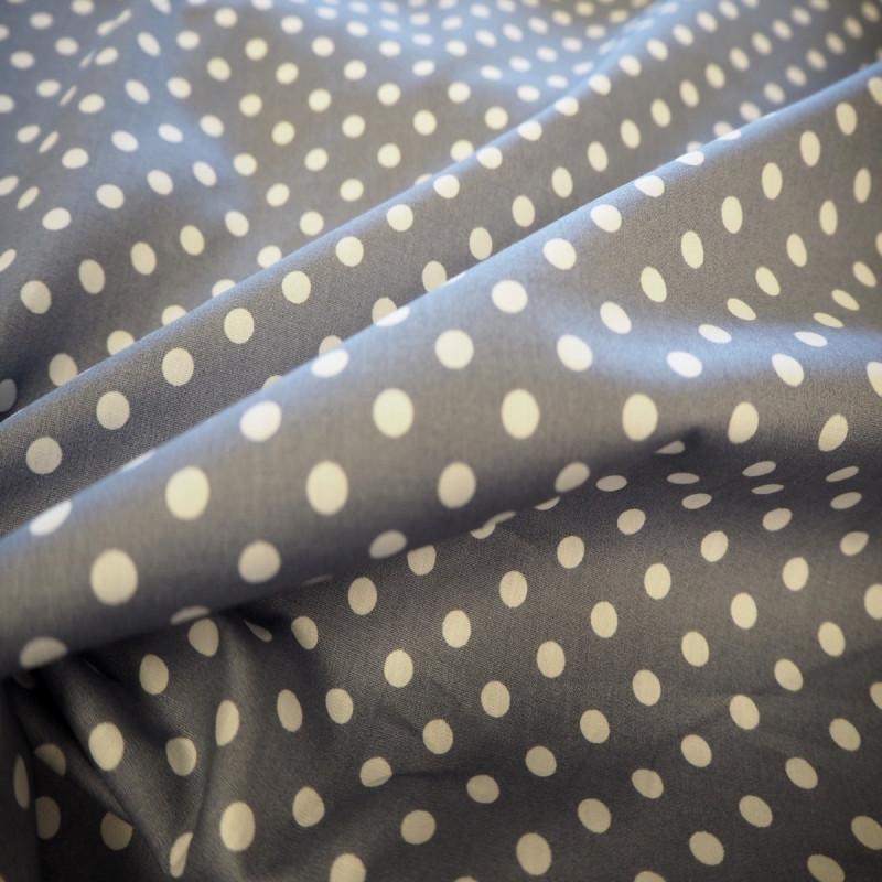 Tissu coton à pois gris clair/ blanc