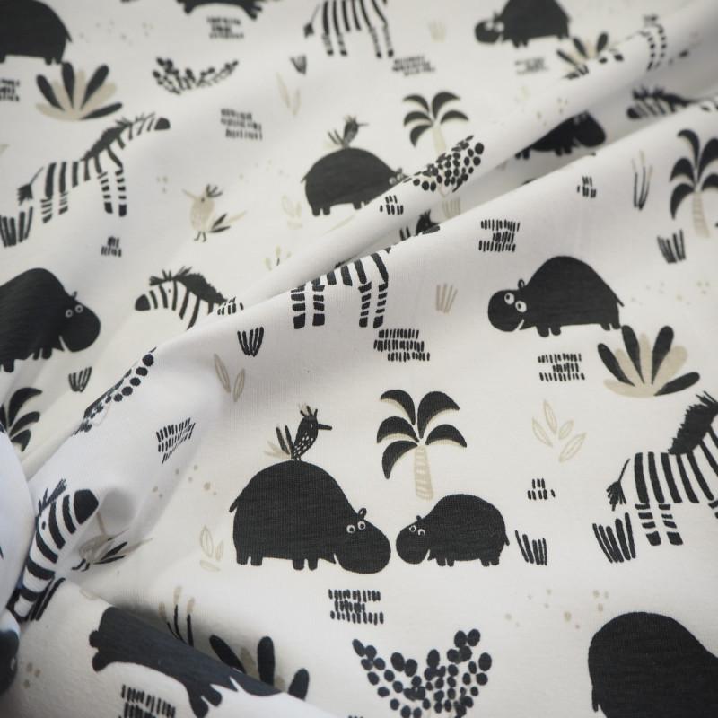 Tissu jersey zèbre noir/ blanc