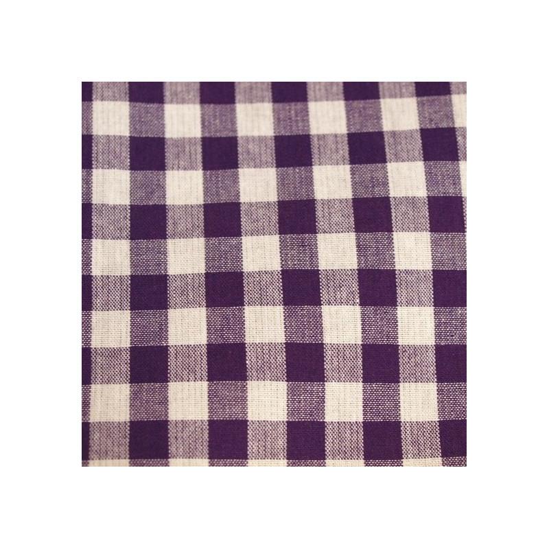 Tissu vichy moyen carreaux  violet