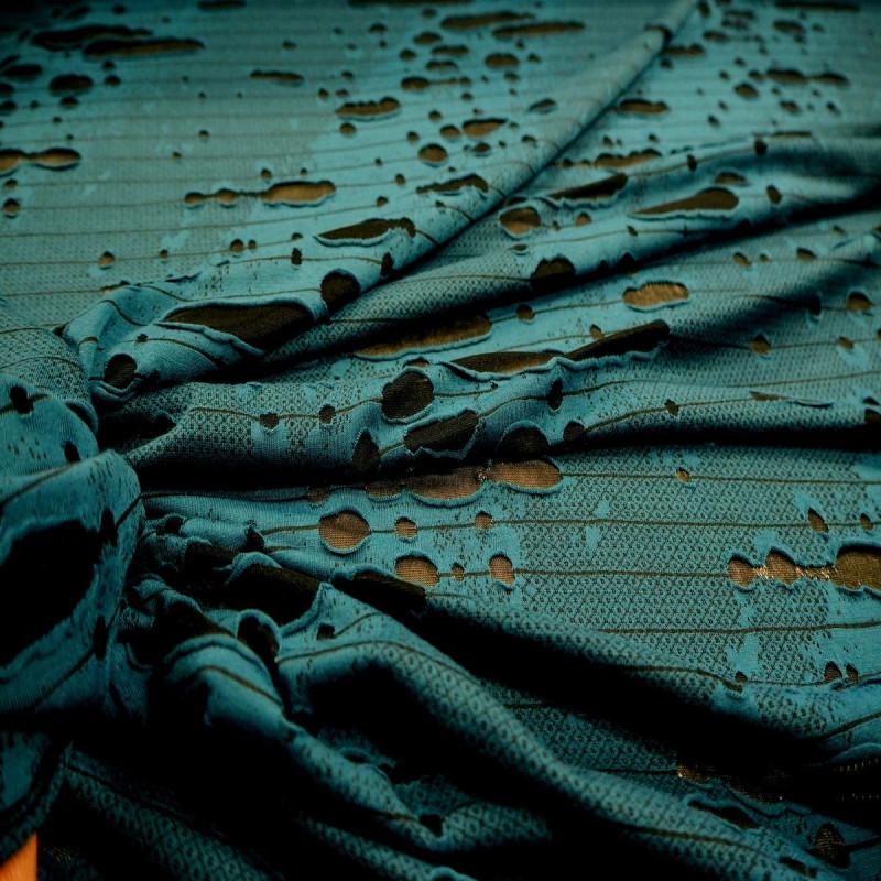 """Tissu polyester """"effet dentelle """" bleu canard/noir"""