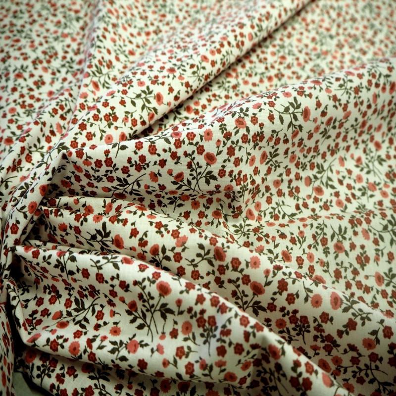 Tissu coton rose/kaki