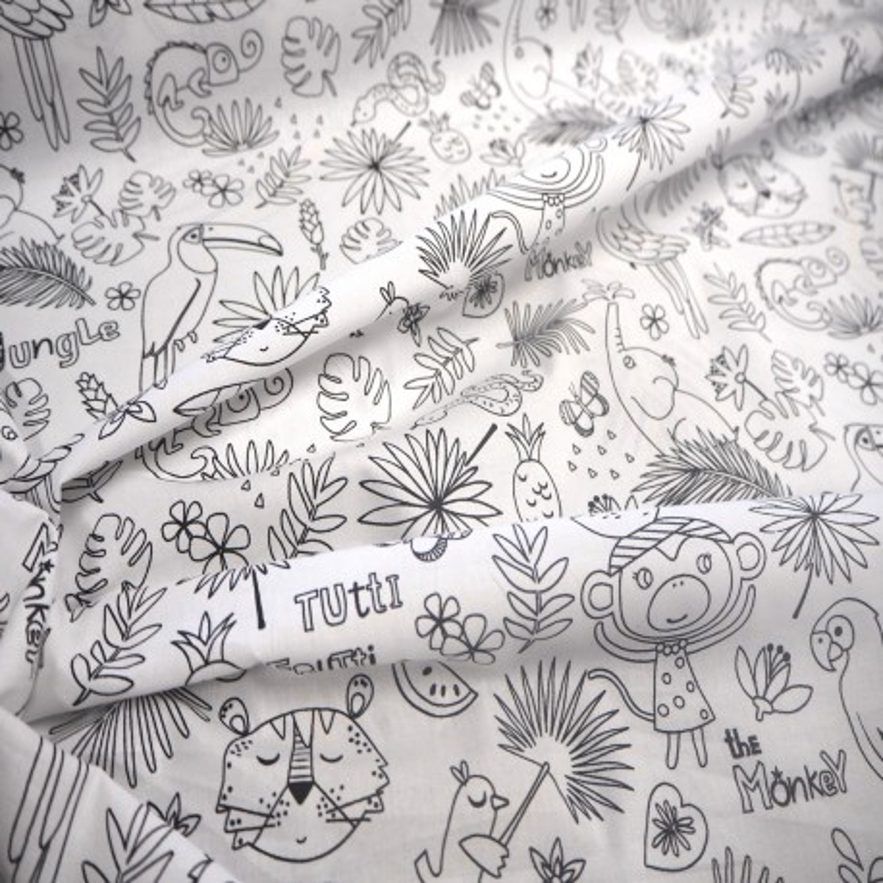 "Tissu coton "" Jungle"" à colorier"
