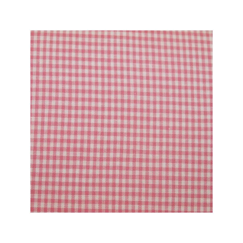 Tissu vichy petits carreaux rose foncé