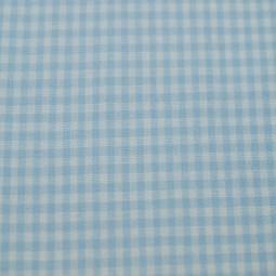 Tissu vichy petits carreaux  bleu ciel