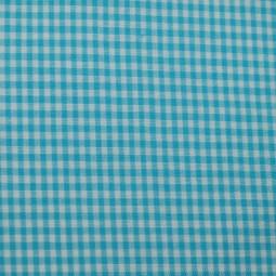 Tissu vichy petits carreaux  bleu turquoise