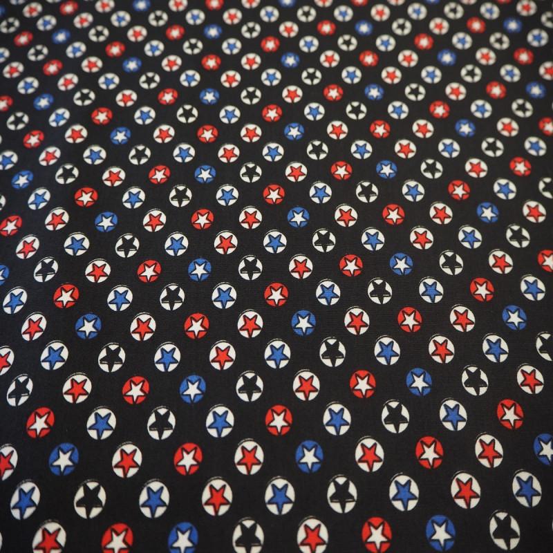 Tissu coton étoiles noir