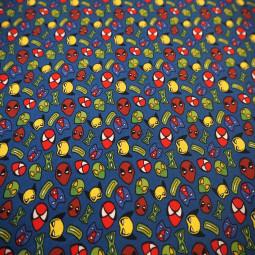Tissu coton super héros bleu roi