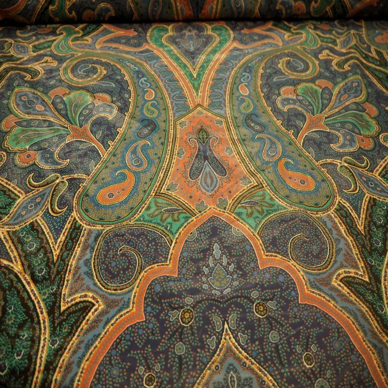 Tissu ameublement en déstockage bleu /vert largeur :1.37m