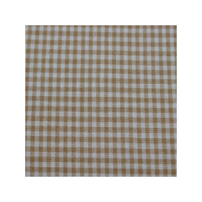 Tissu vichy petits carreaux  écru