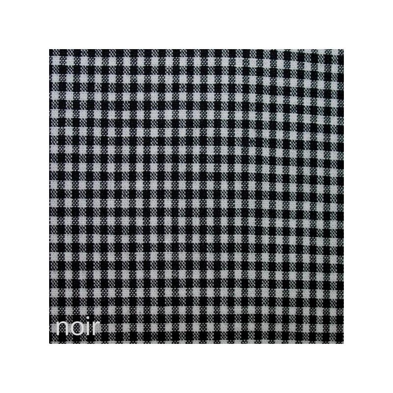 Tissu vichy petits carreaux noir