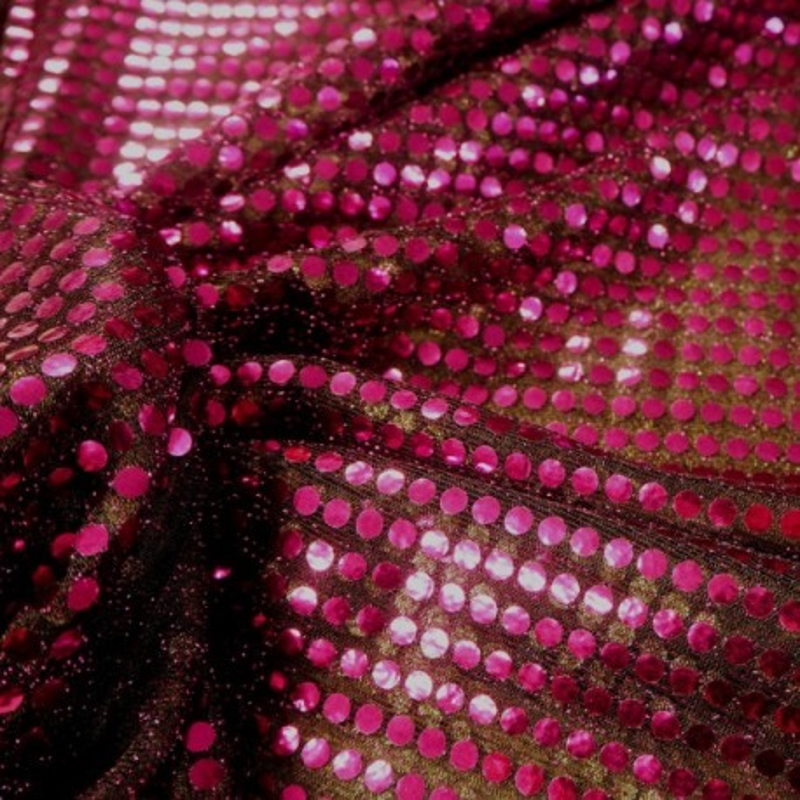 Tissu paillettes fuchsia