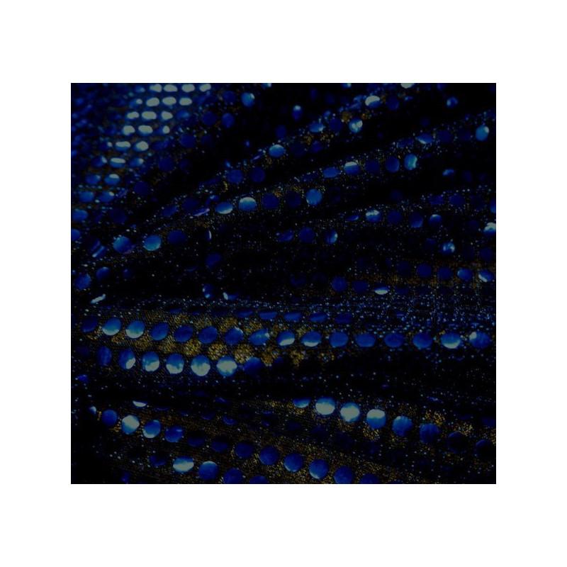 Tissu paillettes bleu nuit